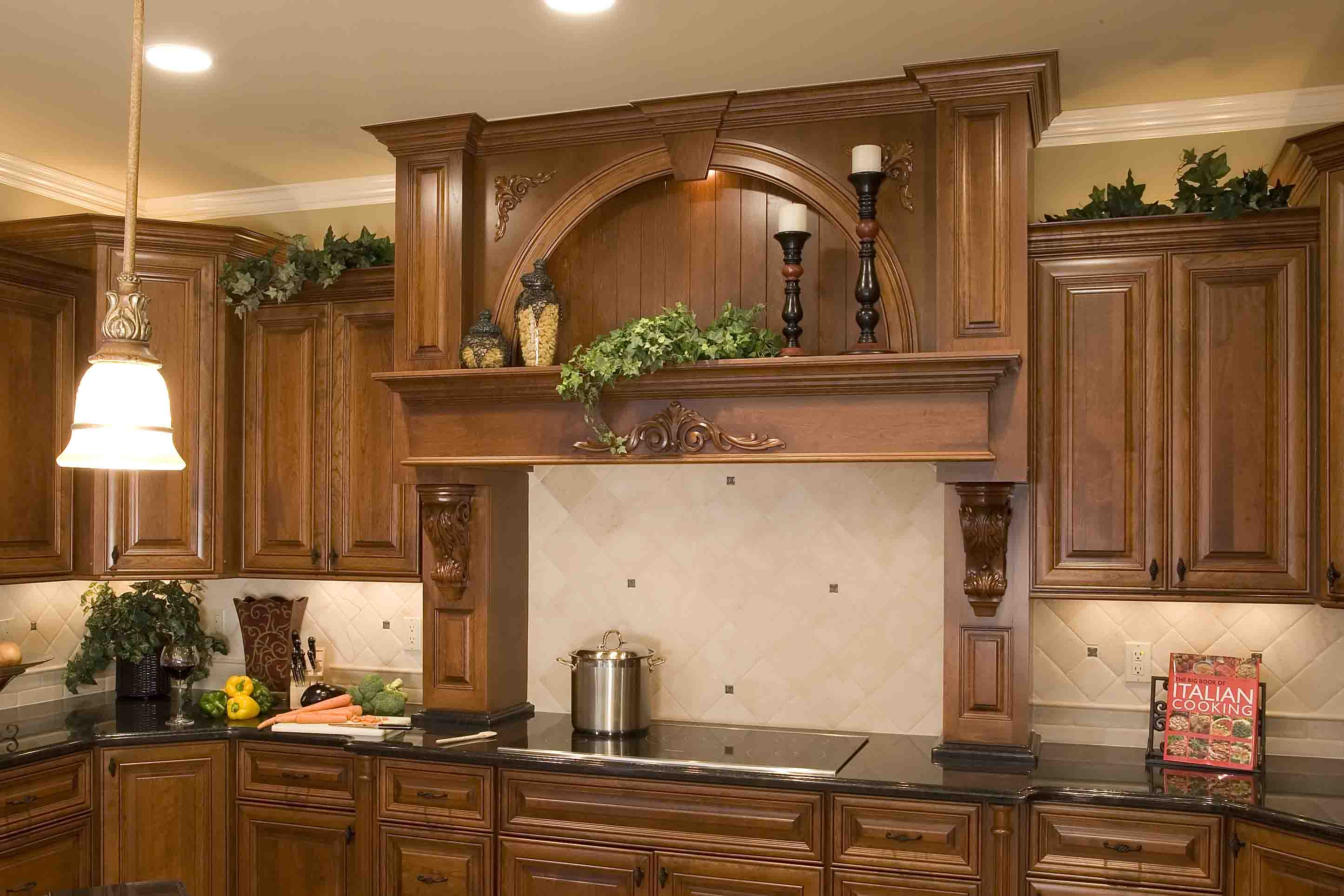 Wood Range Hood With Display Niche