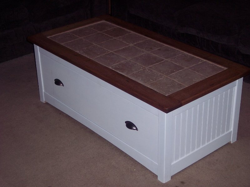 Tile Top Coffee Table With Soft Close Drawer