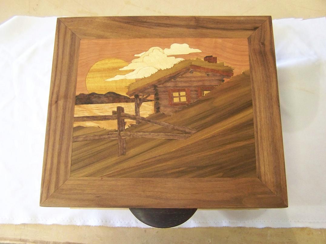 Walnut Marquetry Box