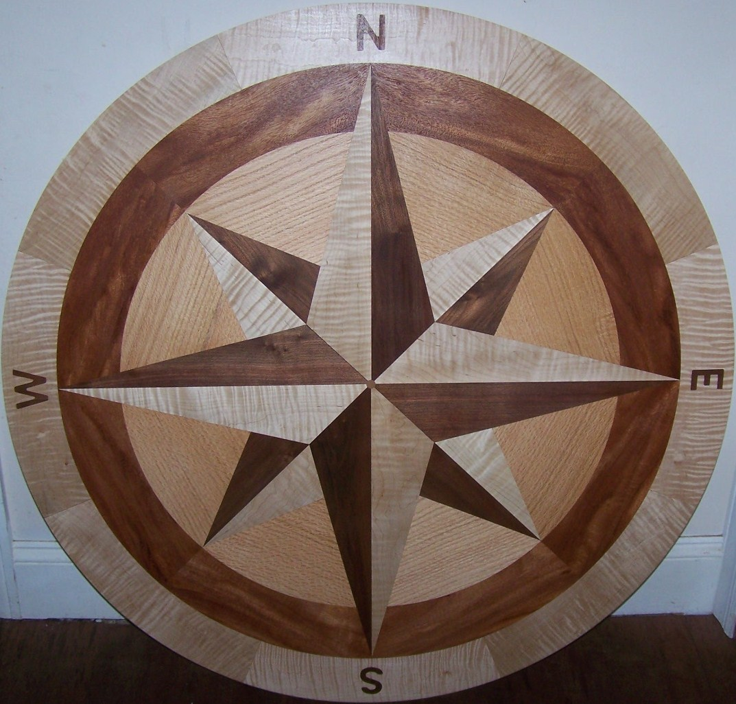 Hardwood floor medallion inlays and compass roses for Wood floor medallions inlay designs