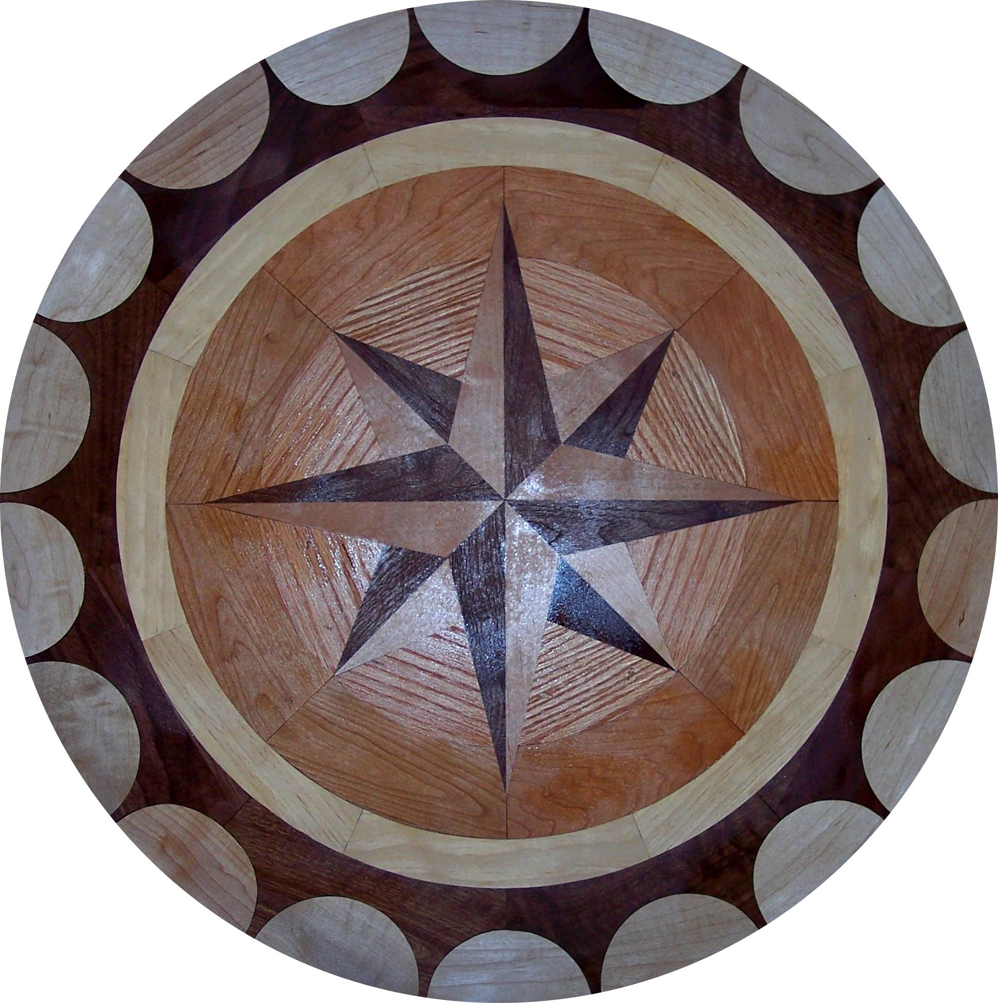 Hardwood floor medallion inlays and compass roses for Wood floor medallion designs