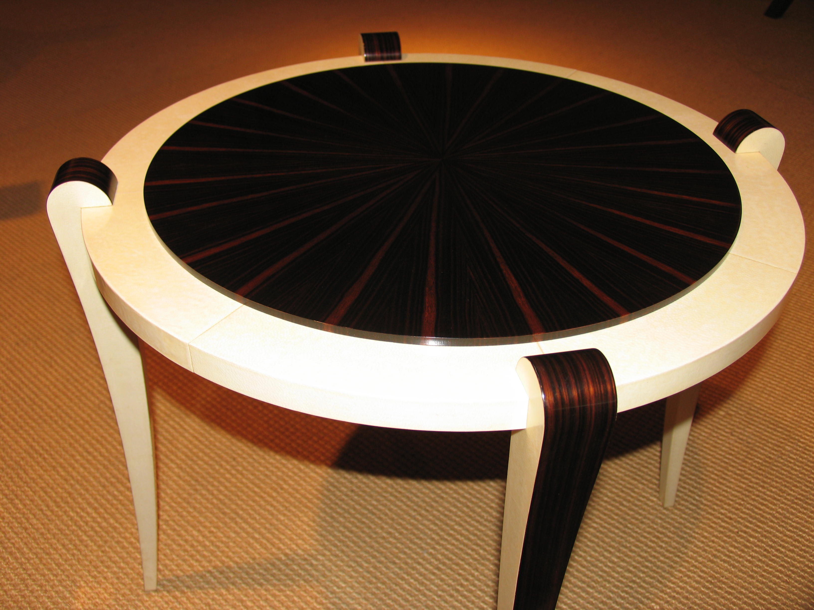 Macassar Ebony Amp Parchment Round Table