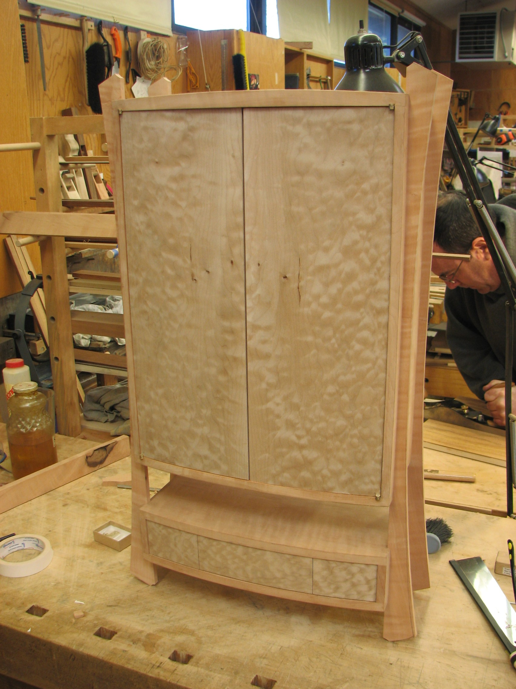 Curly Pear Wood / Quilted Maple Wall Cabinet