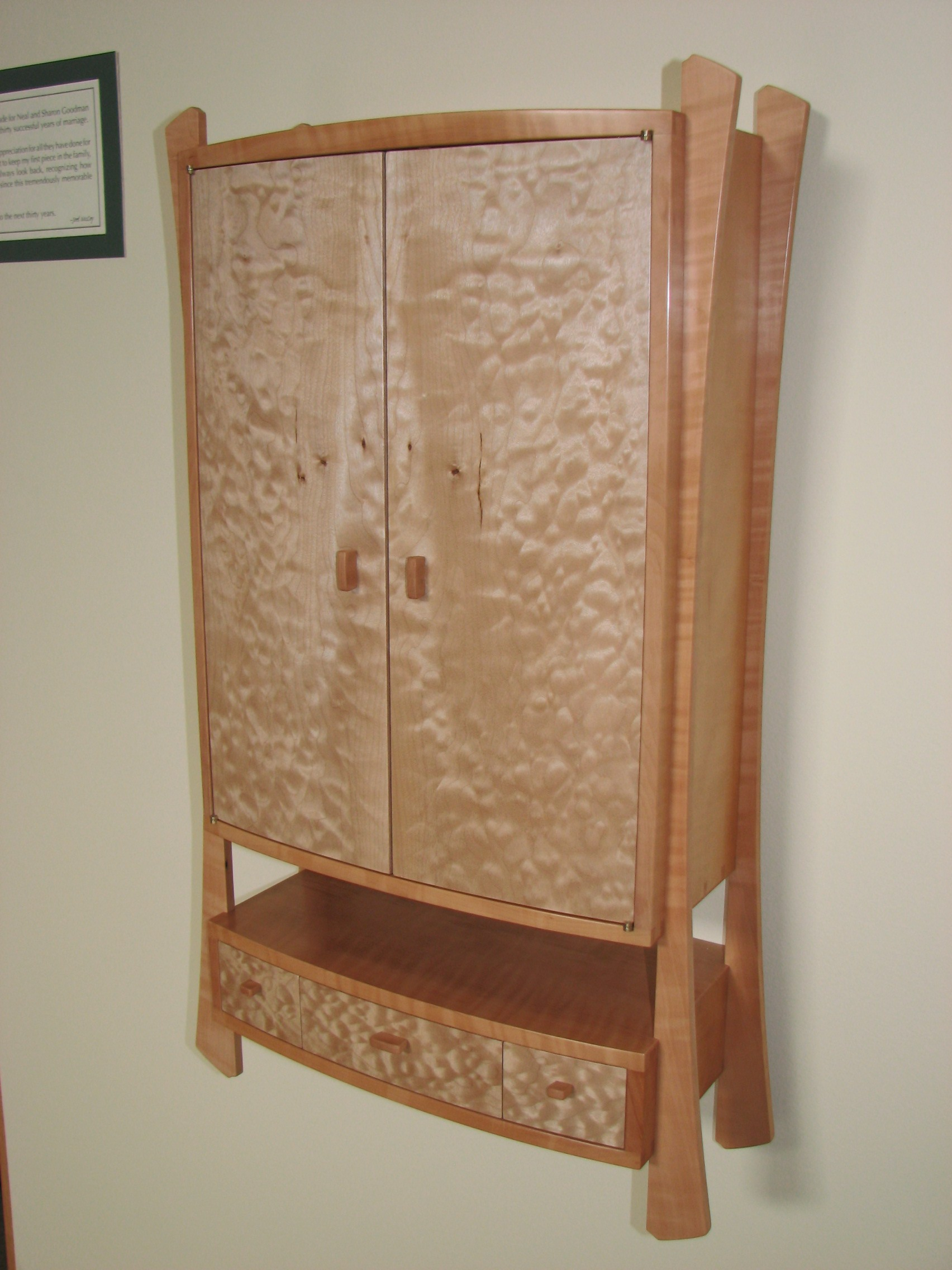 Curly Pear Wood / Quilted Maple Wall Cabinet...Finished