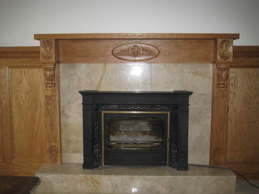 Oak Mantle With Cnc Carvings