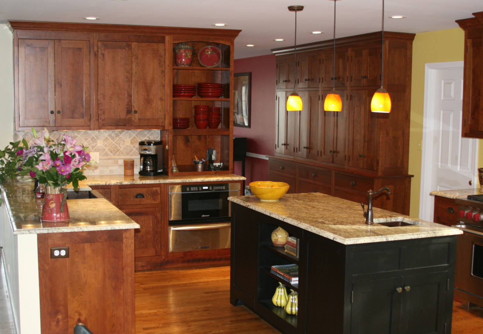 Natural Cherry Kitchen Cabinets Black cherry kitchen project