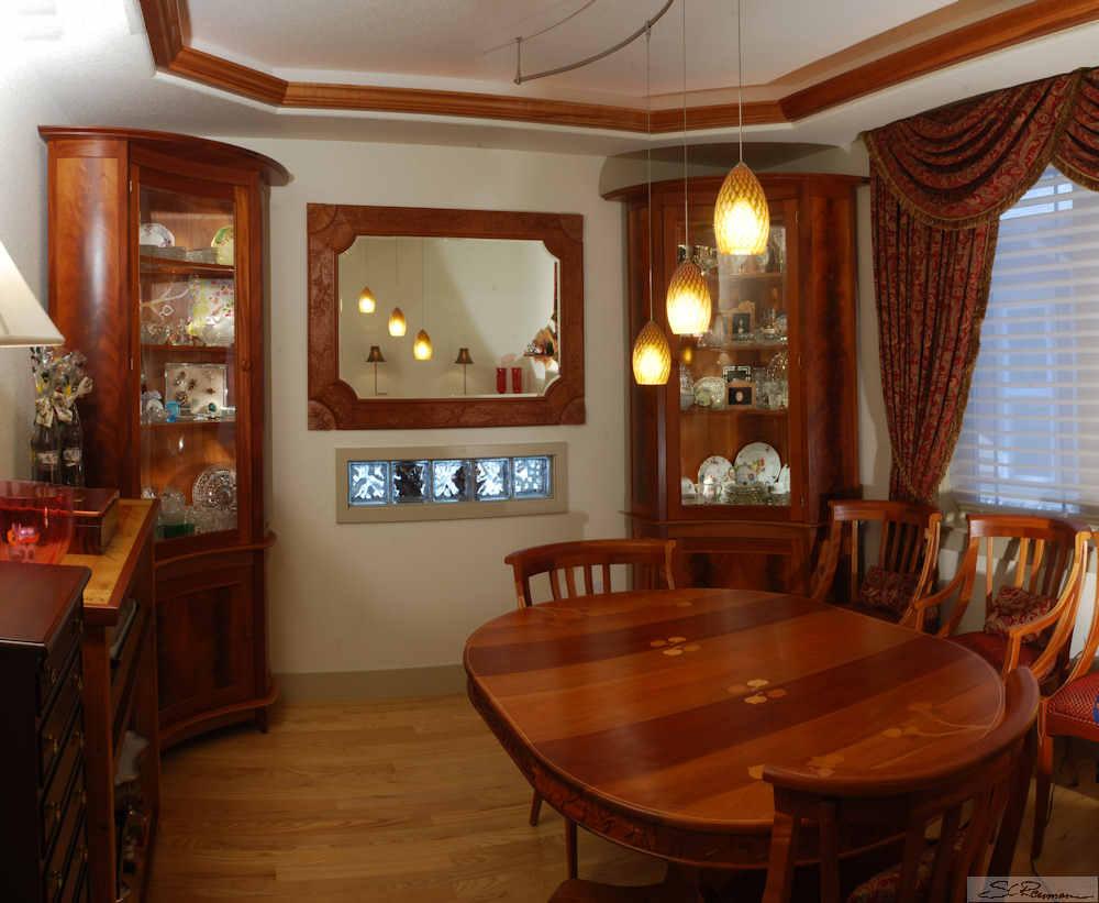 Built In Custom Corner Cabinets Dining Formal Room Mahogany