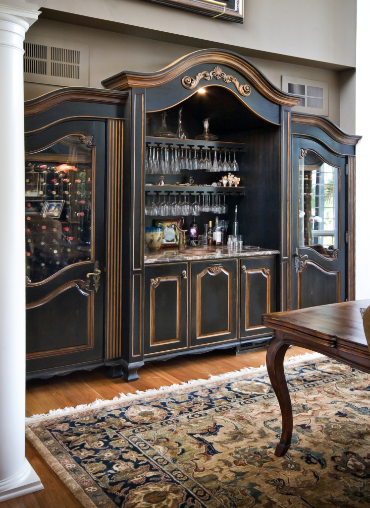 Refrigerated Wine Cabinet And Complementing Cabinet