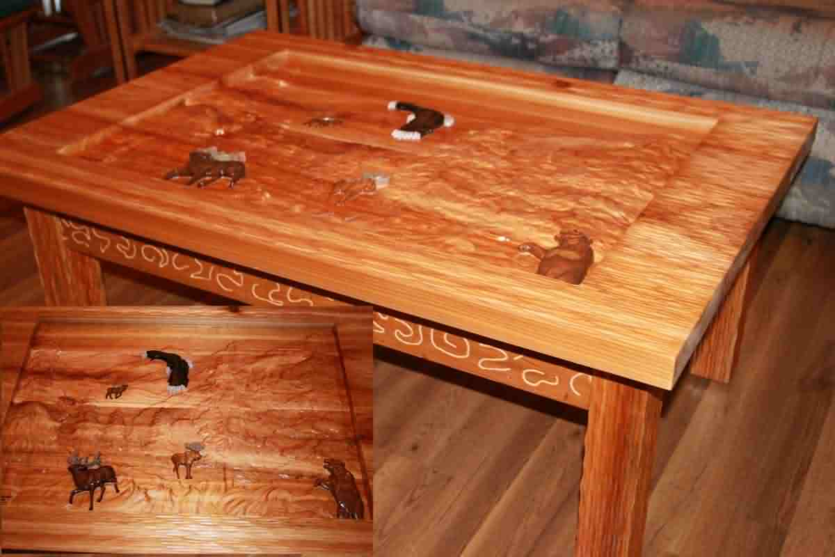 Red Cedar Carved Coffee Table