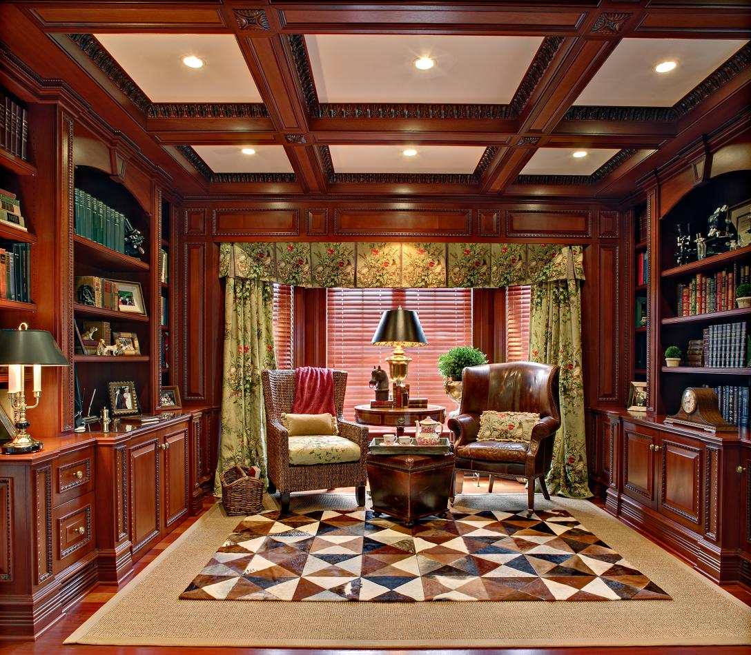 30 Incredible Home Office Den Design Ideas: Mahogany Home Library/Office