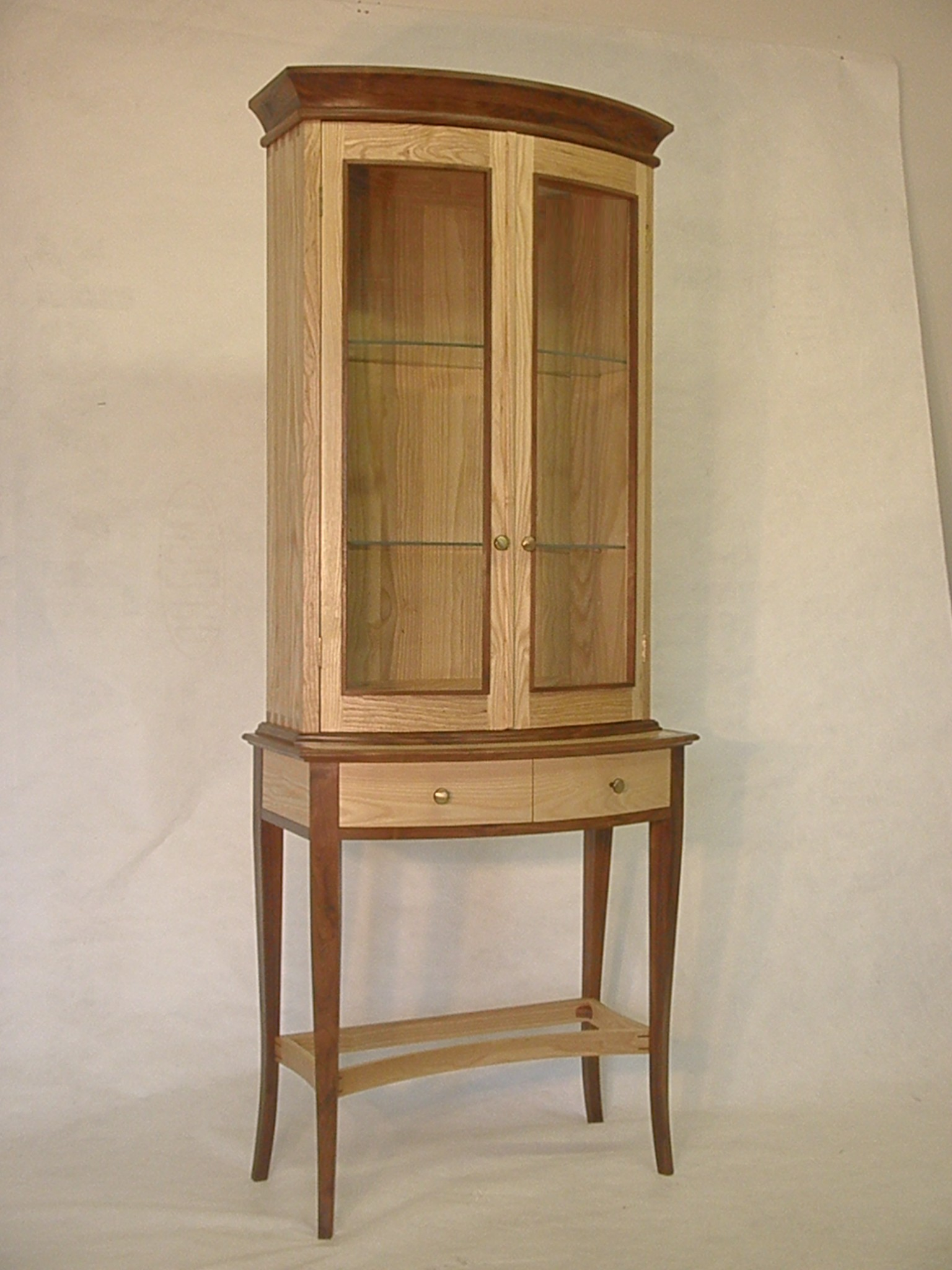 Black walnut and white ash display cabinet