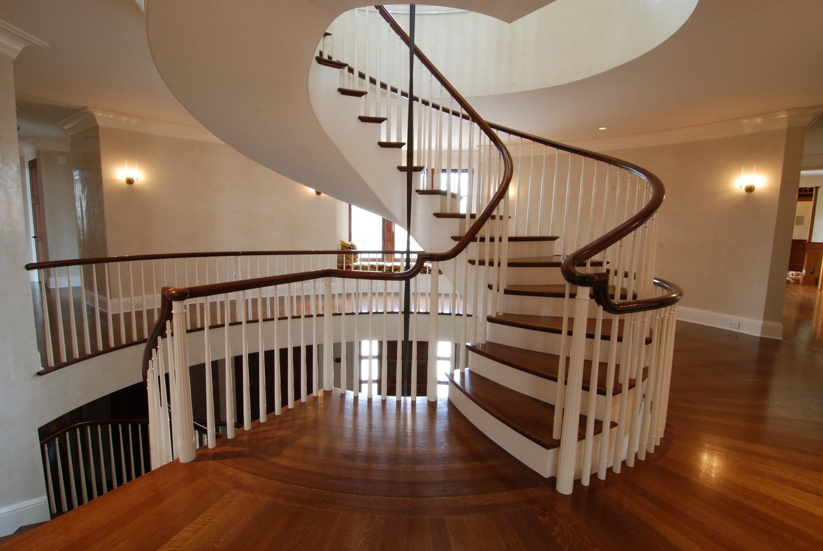 Heres Another Fun Project Done A Couple Years Ago. Quartered/rift White Oak  Treads And Sapelle Handrail