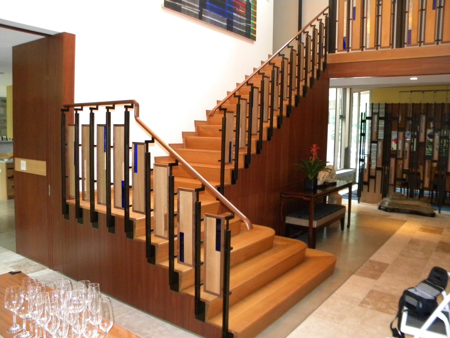 Angled riser oak stair for Home designer stairs with landing