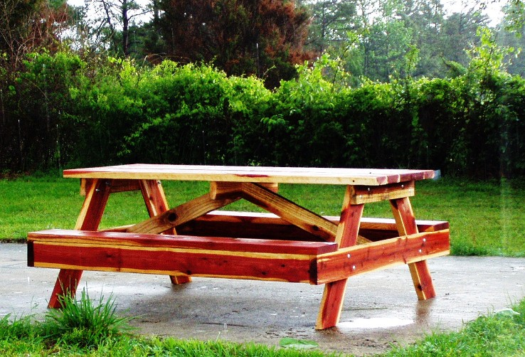 Marvelous Picnic Table Handcrafted Red Cedar