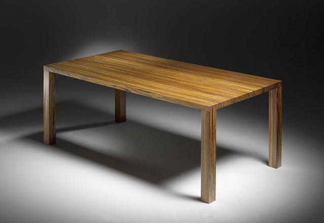 Delightful Zebrano Dovetail Dinner Table