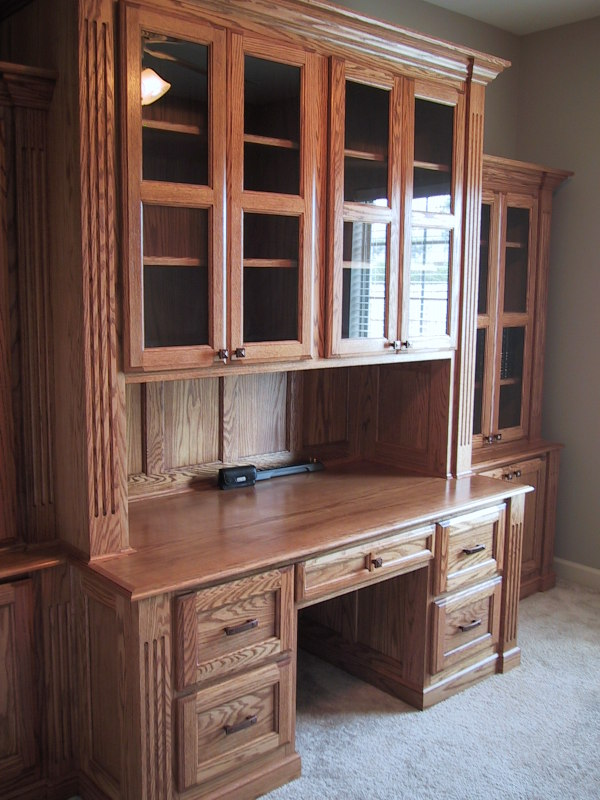 Red Oak Desk Wall Unit