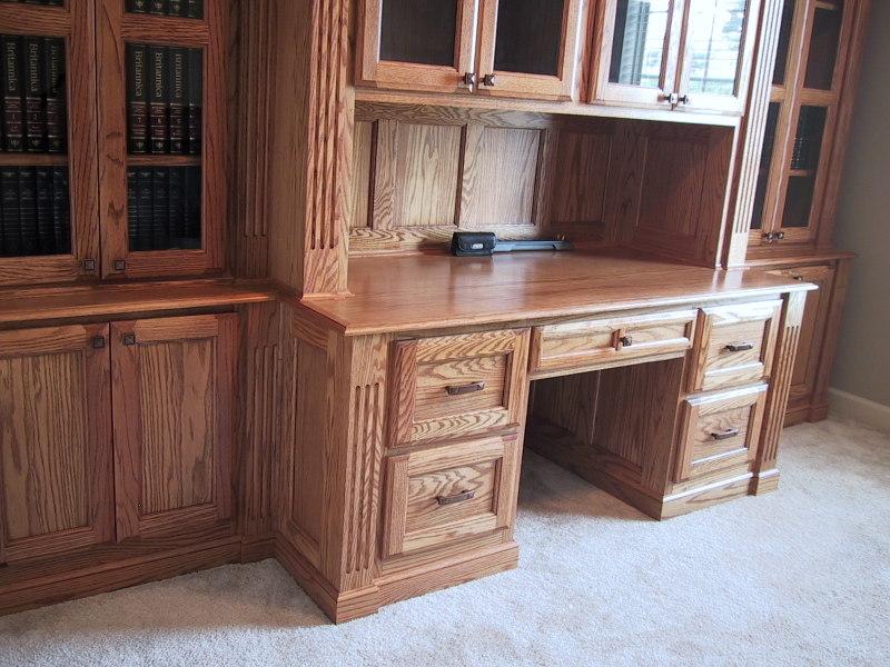 Red Oak Desk/Wall Unit