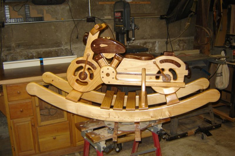 Wood rocking motorcycle for Woodworking plan for motorcycle rocker toy