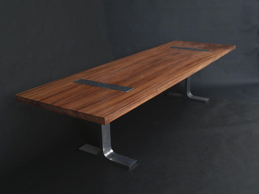Parota Dining Table With Cast Aluminum Legs