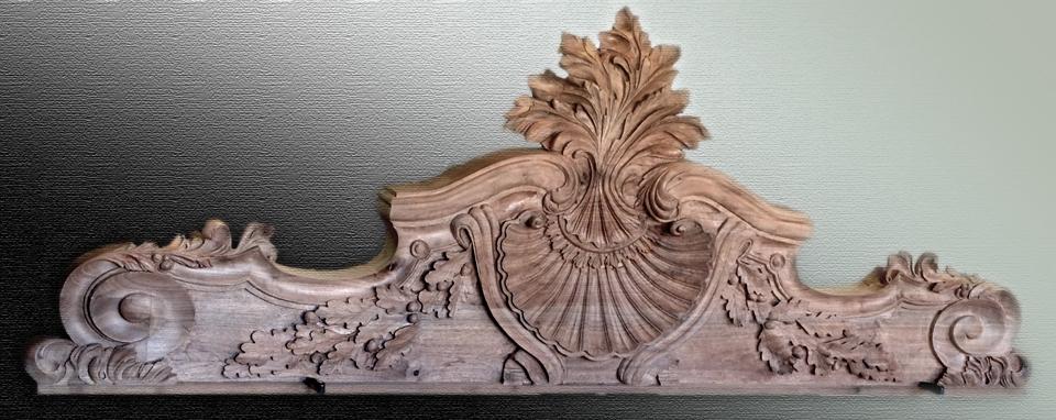 Black walnut hand carved headboard