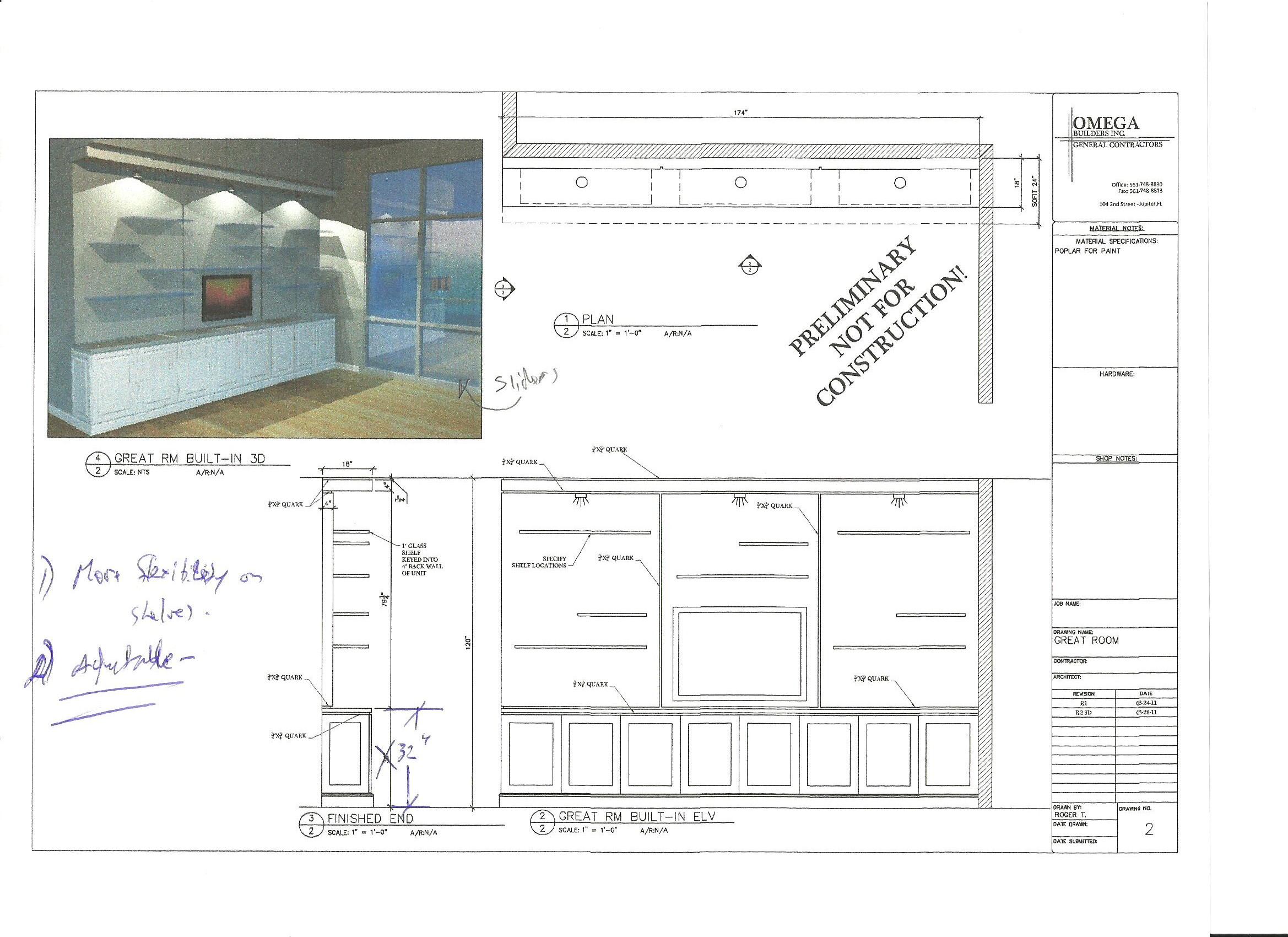 Custom Millwork Shop Drawings Of Built In Units