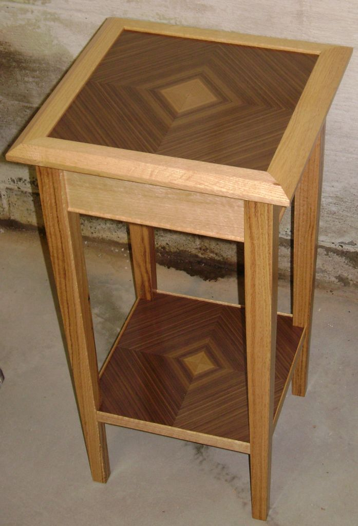Walnut And Red Oak Accent Table