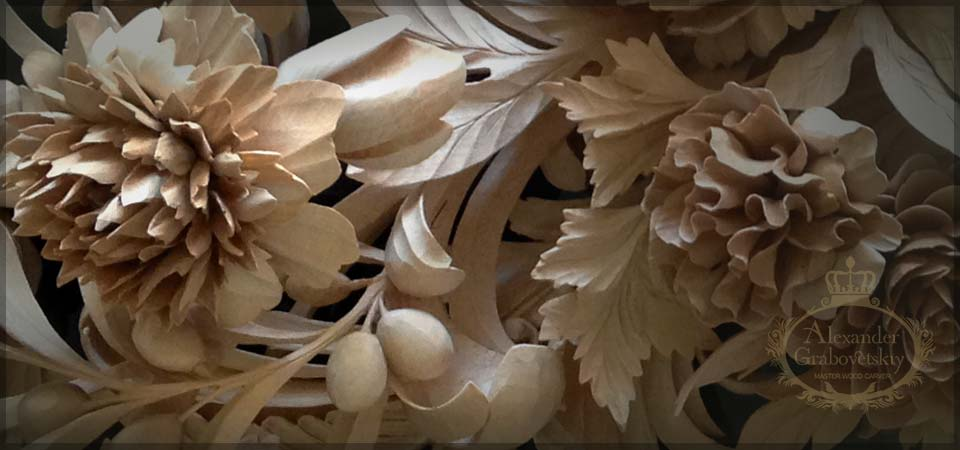 Rococo grinling gibbons style wood carving