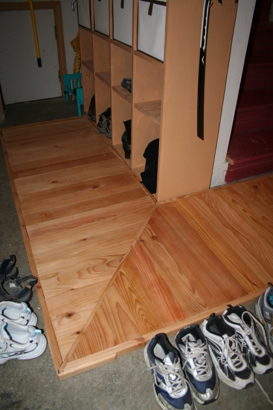 Mudroom Entry Raised Floor And Shoe Storage
