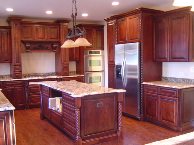 Alder custom kitchen stained dark cherry for Can you stain kitchen cabinets