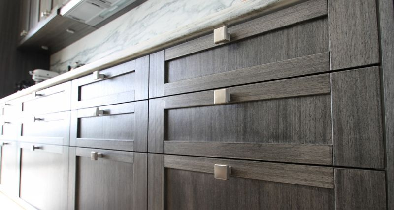 Achieving A Gray Finish On Cherry Cabinets - Dark gray stained cabinets