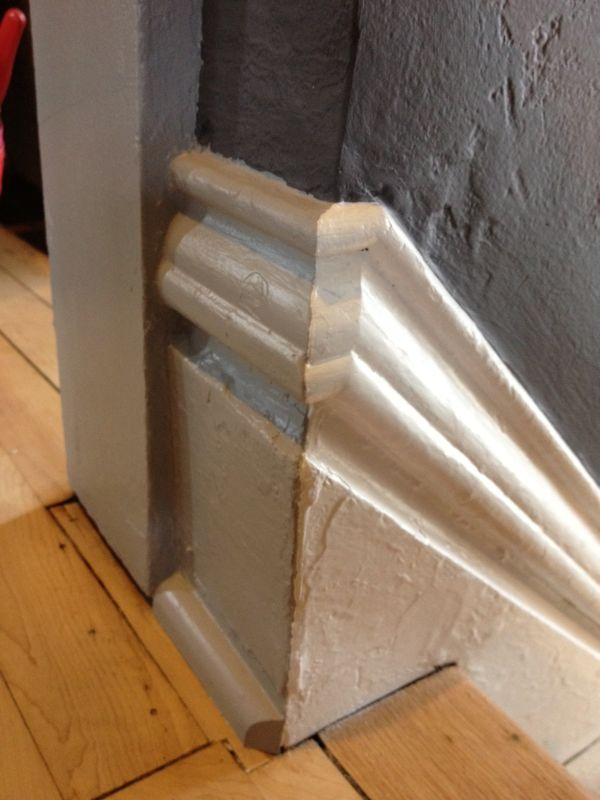Baseboard Transition At The Top Of A Stair