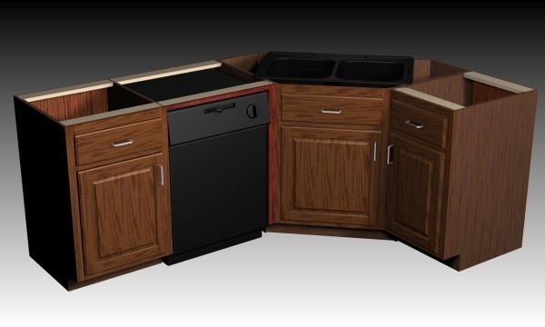 Sinks corner on pinterest corner sink corner kitchen for Bottom corner kitchen cabinets