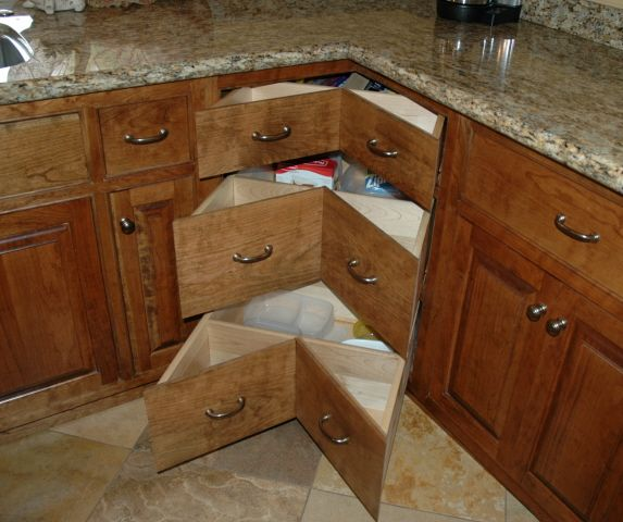 How to build corner cabinet drawers bedsitter apartment for Kitchen cabinets with drawers