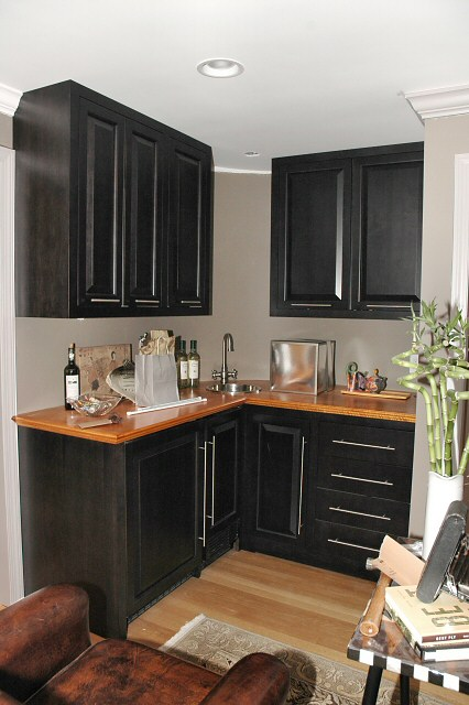 dark stained cabinets