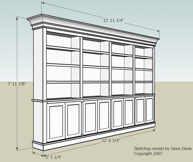 Built in Bookshelf Design Plans 640 x 538