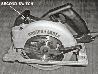 Safe design and operation of portable circular power saws the modified porter cable model 743k power saw left handed with a second switch installed by the wood machining institute on the lhs of the front knob greentooth Gallery