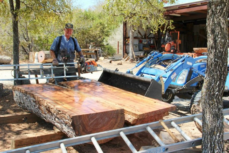 Sawing Slabs From Huge Down Tree Stumps